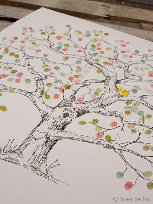 This Charming Wedding: Bleu de Toi, home of the guest book fingerprint tree