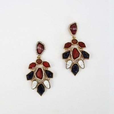 Redcurrent Burgundy & Black Drop Earrings