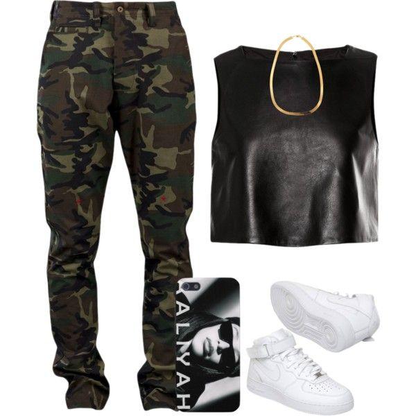 black faux leather crop top camo cargo pants white nike