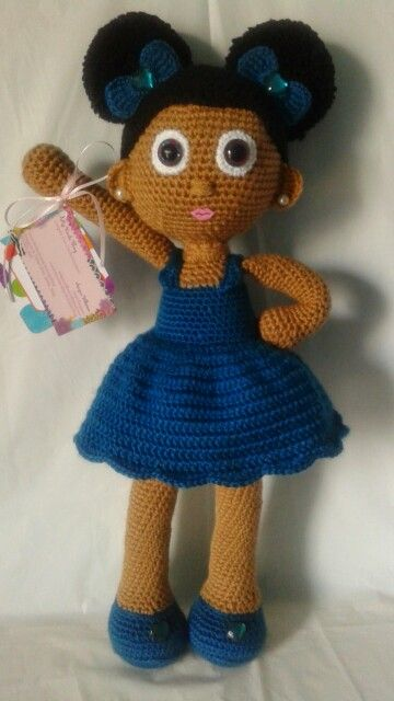 Crochet Doll; African American girl with afro puffs, little hair bows with heart shaped bling!
