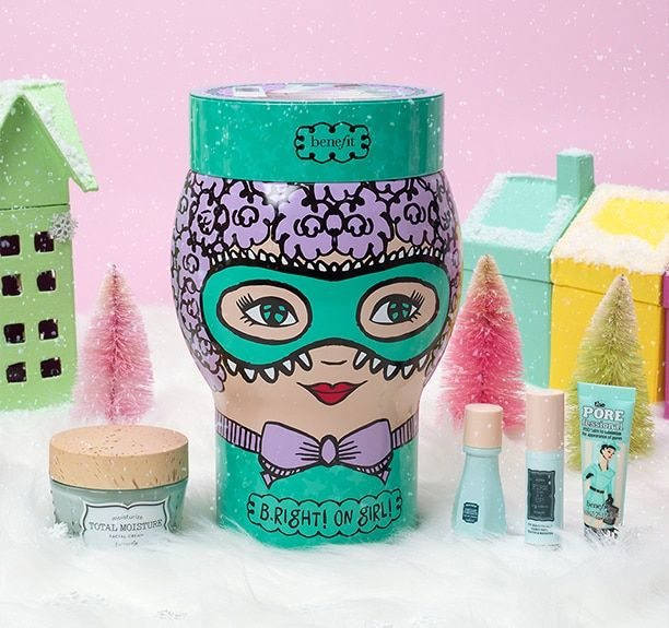 B.right! on girl! set including total moisture, firm it up, the POREfessional and instant comeback in a colourful winter setting