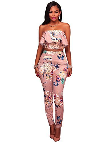 Anermy Women Strapless Ruffle Crop Tops Long Pants Floral Print Bodycon 2  Pieces Set 38e643cddacf