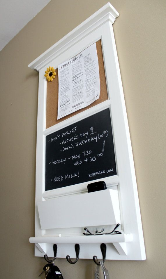 Vertical Wall Chalkboard Cork Bulletin Board with Mail Organizer and Storage, Key hooks, and shelf from Rozemake on Etsy, $188.47