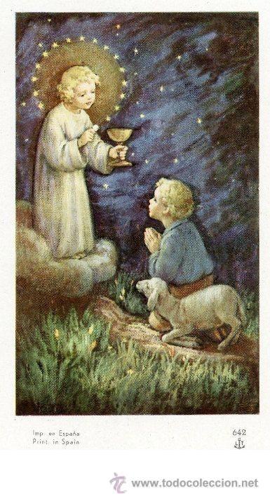Estampita: NIÑO JESÚS DANDO LA COMUNIÓN (Postales - Religiosas y Recordatorios)
