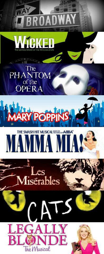 Broadway posters! Broadway street sign, Wicked poster, The Phantom of the Opera, Mary Poppins, Mama Mia, Les Miserables, Cats, and Legally Blonde