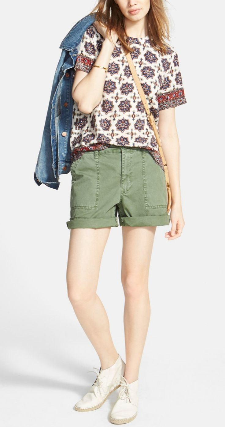 Loving this Madewell silk medallion print tee.