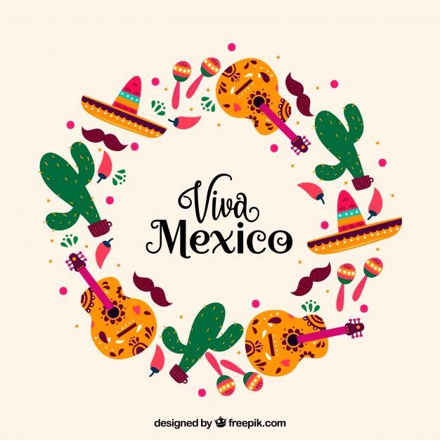 Circular Viva Mexico Lettering Backgroun Free Vector Freepik Freevector Freebackground Freefood Freemenu Viva Mexico Mexico Wallpaper Mexico Design