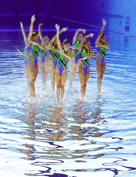 The team from Great Britain competes during the synchronized swimming team free routine final at the Aquatics Centre in the Olympic Park during the 2012 Summer Olympics in London, Friday, Aug. 10, 2012. Great Britain finished sixth in the event. (AP Photo/Mark J. Terrill)