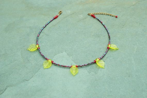Delicate necklace made with handcrafted glass leaves by BijoubeadsLondon £22.00