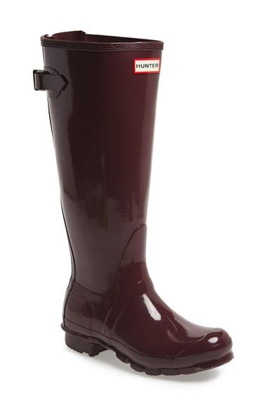 AAAAN BURGUNDY...Hunter Adjustable Back Gloss Rain Boot (Women) available at #Nordstrom