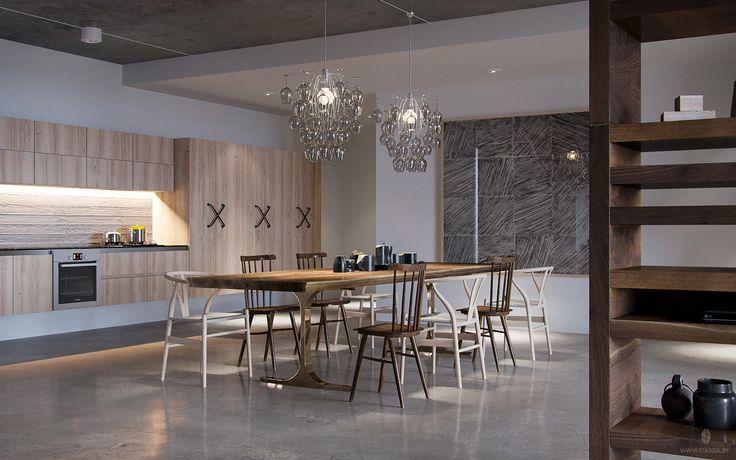 "Проект ""Glass Light"" от минской студии ""Станза"" в стиле лофт. | Project ""Glass Light"" by Stanza studio (Minsk, Belarus), style loft. #concrete #slab #design #interior #loft #wood #kitchen   #stanza_studio_minsk"