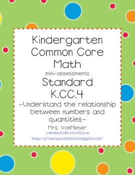 Common Core- K.CC.4- mini-assessmentsKindergarten Math, Free Tpt, Free Numbers, Education Ideas, Free Today Minis Assessment, Free Teachers, Free Math, Common Cores, Classroom Ideas
