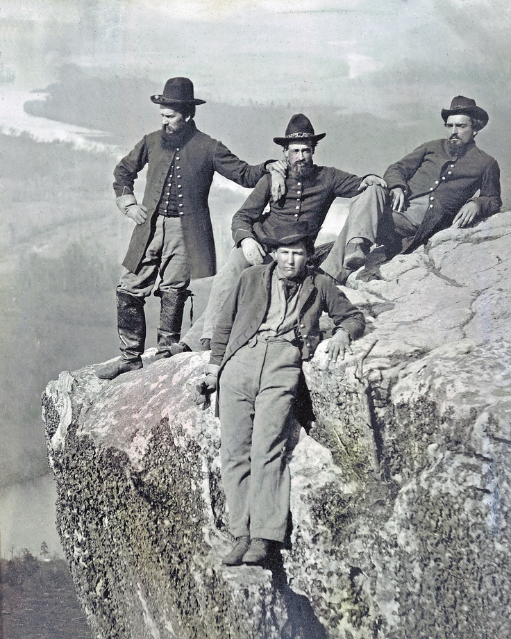 Grande foto da guerra civil de 4 soldados da União No topo Lookout Mountain Tennessee
