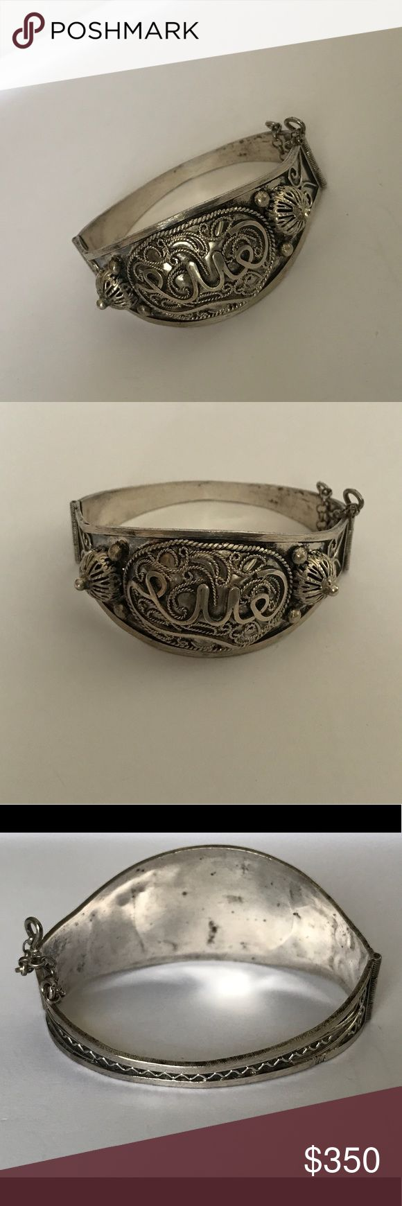 "EXTREMELY OLD Child Bangle Bracelet Set in sterling silver. It's circumference measures 2"" when closed. It opens on a hinge. It has designer hallmarks unknown to me as shown in photo. It's truly rare and unique Vintage Jewelry Bracelets"