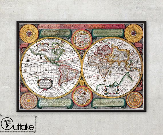 99 best Dining images on Pinterest Antique maps, Old maps and Easy - new antique world map images