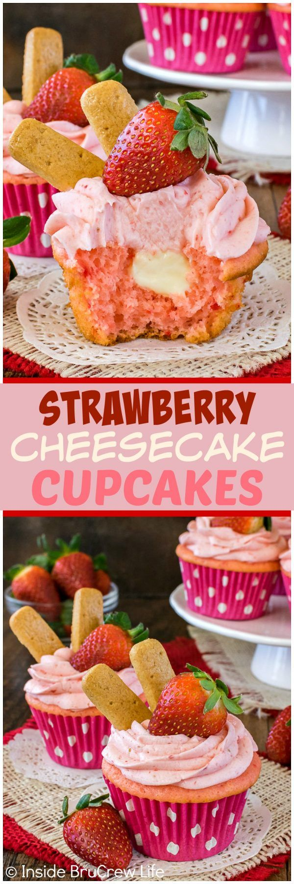 Strawberry Cheesecake Cupcakes - these easy cupcakes have a hidden no bake cheesecake filling and fresh strawberry frosting. Awesome cupcake recipe for any spring party!!!:
