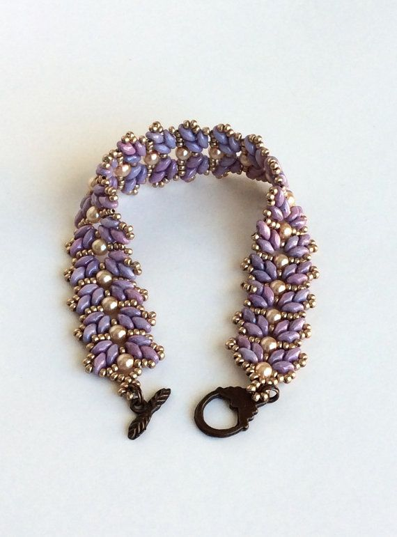 Beadwork purple leaf bracelet beadwoven by craftybeadcollection