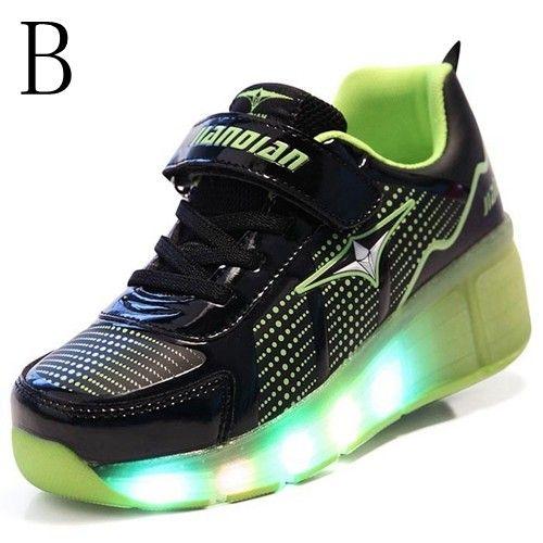 Schwarze LED Schuhe Mit Rollen Kind Für Jungen In Der Sohle