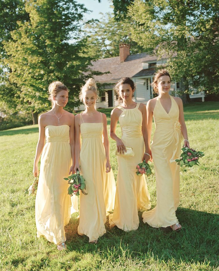 Canary is one of our best colors for 'maids in the springtime. Check out all of the available styles in this color! #davidsbridal #canary #bridesmaids