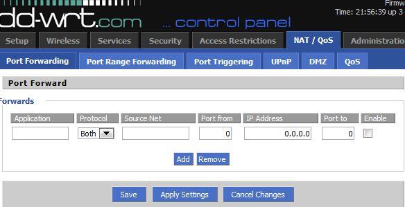 Port Forwarding Screenshot Collection