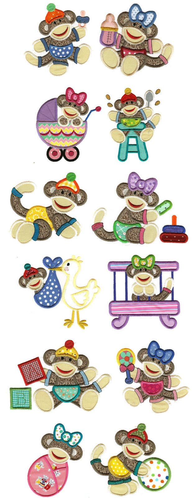 Embroidery   Free Machine Embroidery Designs   Sock Monkey Babies Applique
