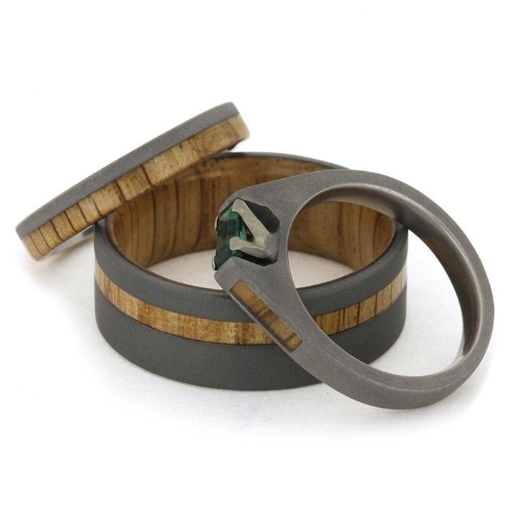 Sandblasted Titanium Oak Wood Wedding Band Emerald Engagement Ring Set