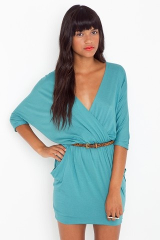 Draped Across Dress - Teal $58