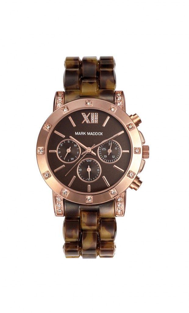 Que les parece este hermoso modelo??   Reloj multifunción brazalete con cierre desplegable. Caja con incrustaciones y con acabado IP Rosa. Cristal mineral e impermeable 30m (3ATM).
