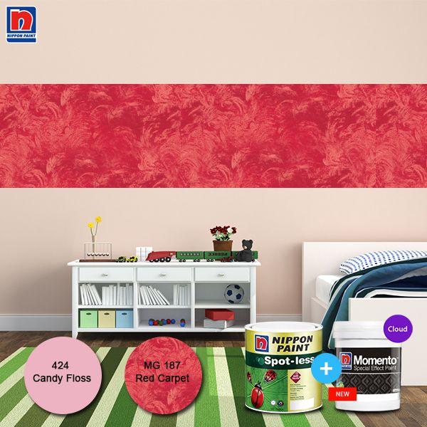 Nuansa pink soft dengan aksen merah menjadikan kamar terasa nyaman sehingga tidur anak menjadi berkualitas. Lihat juga inspirasi kombinasi warna pinknya di http://bit.ly/passion-colour-palette  #ImajinasiTanpaKompromi #WarnaWarniLebaran