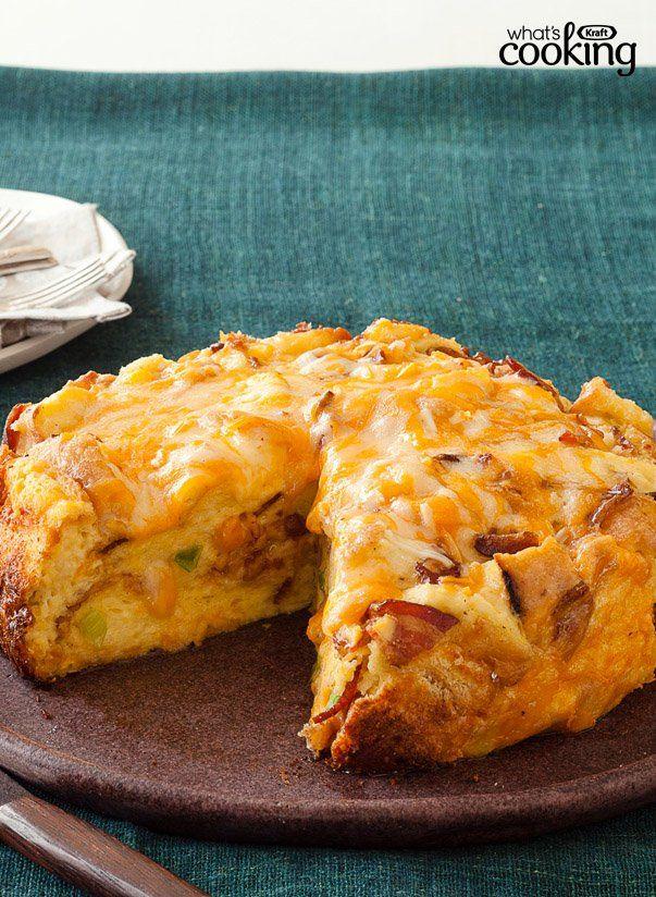 Slow-Cooker Cheesy Bacon Strata #recipe