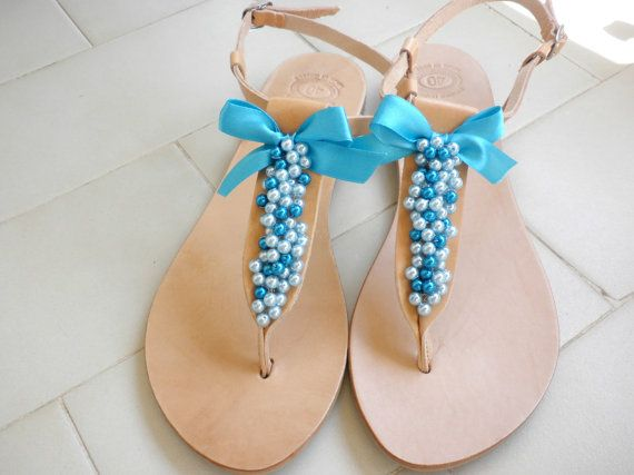 Blue pearls decorated sandals- Leather Greek sandals- Wedding shoes-Summer women flats-  Bridesmaid sandals- Something blue- Summer sandals-
