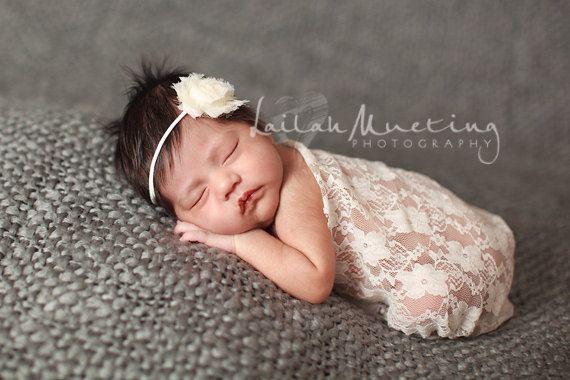 Bébé et bandeau bébé vente enveloppement Set - dentelle en blanc ivoire, écharpe foulard, grande Photo prop sur Etsy, 16,22€