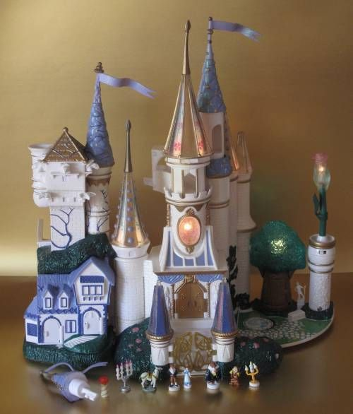 Vintage Polly Pocket Trendmaster Beauty & the Beast Castle Playset Lights Figure