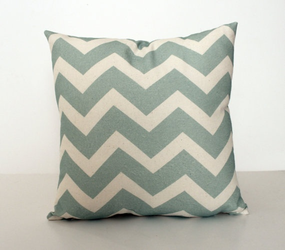 Mint Chevron Pattern 16x16 inch Pillow Cover,  Throw Cushion Bull Denim, Urban, Modern, Retro