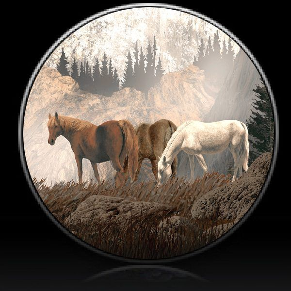 Horses Mountain Morning Spare Tire Cover Spare Tire Covers Tire