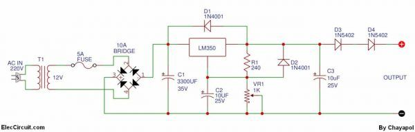 0 12v Variable Power Supply At 3a Eleccircuit Com Power Supply Power Electronics Components