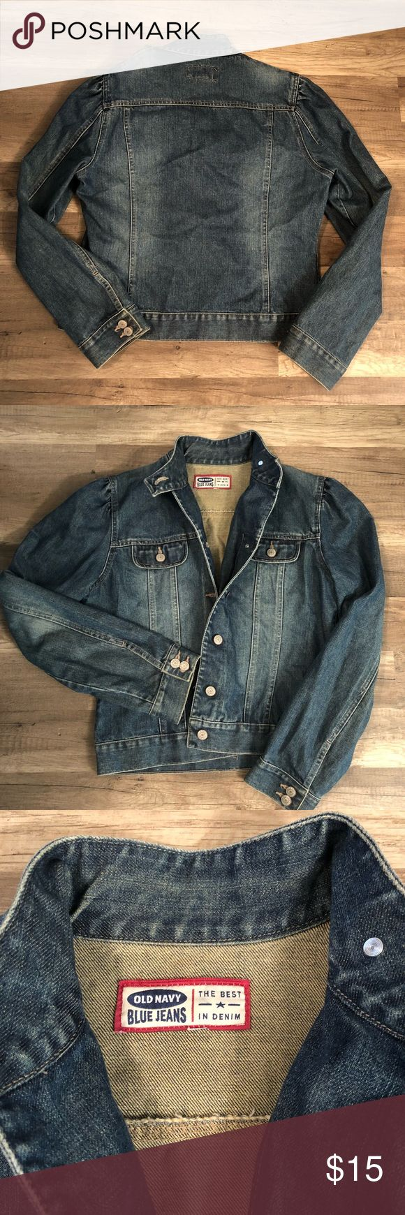 Old Nacy Denim Jacket Distressed look.   Sleeves roll for cute spring look  Excellent condition!!   Size large Old Navy Jackets & Coats Jean Jackets