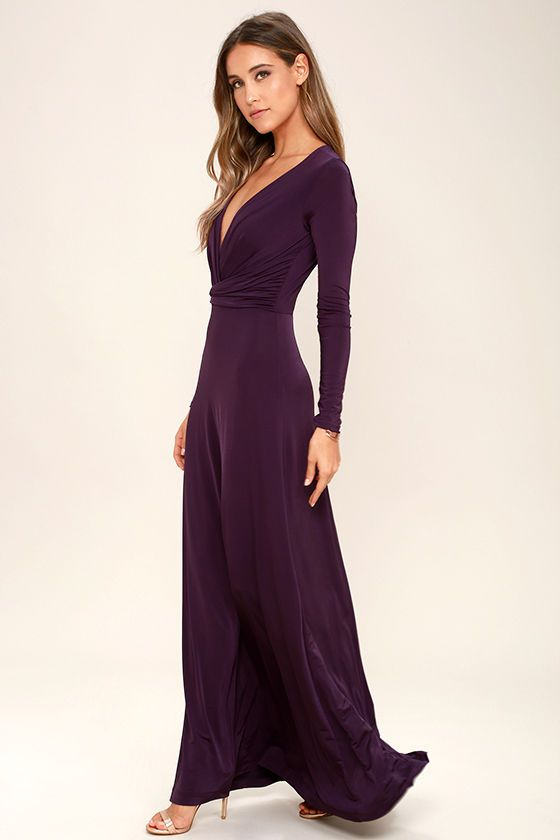 Usher in the seasons in style with the Chic-quinox Plum Purple Long Sleeve Maxi Dress! Plum Purple jersey knit shapes a surplice bodice framed by long sleeves. Billowing maxi skirt falls below a gathered waistline for a stunning finish.
