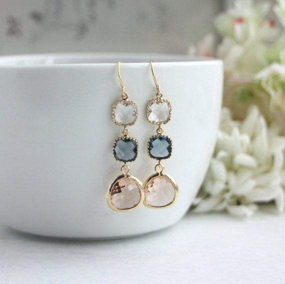 Wedding Earrings Champagne Peach Dark Blue Navy Blue Glass