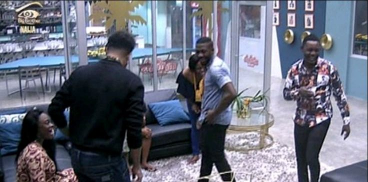 Ace comedian, AY visited the Big Brother Naija housemates yesterday.  The way Tboss was staring and smiling at AY caught his wife's attention and she gave a hilarious reaction.   ##BBnaija #AY #Gossips
