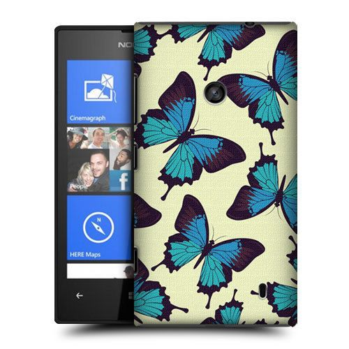 HEAD CASE BLUE BUTTERFLY PATTERN PROTECTIVE BACK CASE COVER FOR NOKIA LUMIA 520