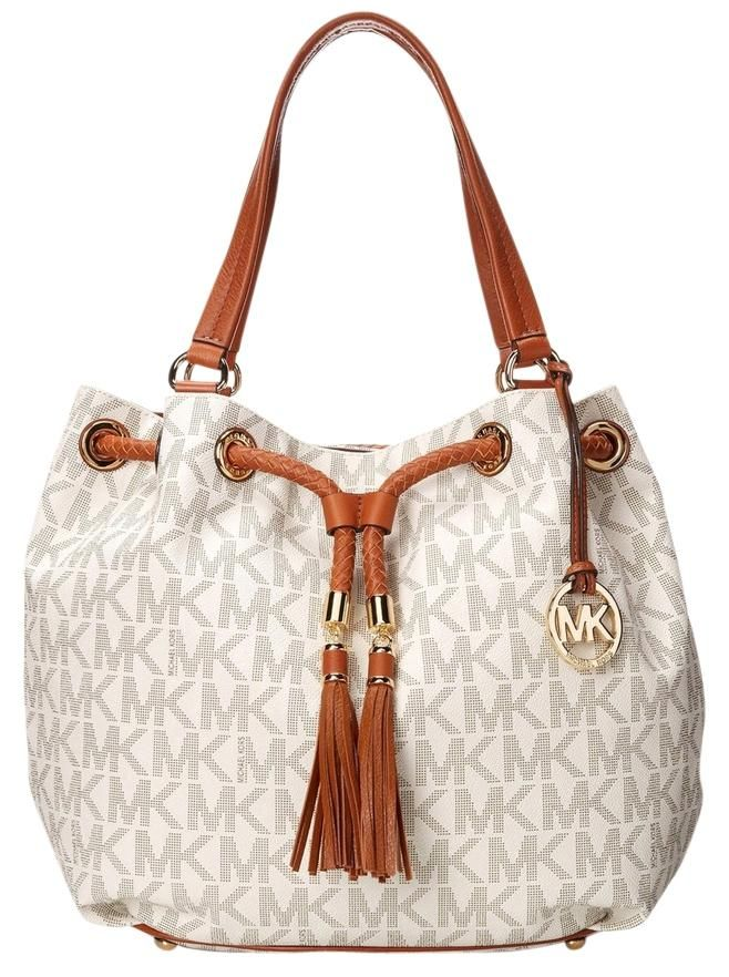 Michael Kors Nwt Lg Gathered In Vanilla Brown Gold White Tote Bag Get One Of