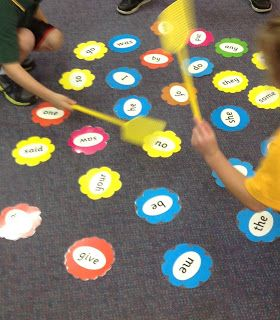 sight word swat - needs three to play.  One child reads out a sight word.  Two get the swatters and swat the word that's read :-)  Sounds like loads of fun- but perhaps best for outside play-learning due to ensured enthusiasm!