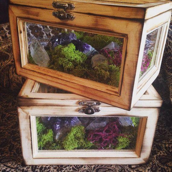 Terrarium Box Crystal Garden Crystal Terrarium Kit Girlfriend Gift Raw Crystals Healing Crystals and Stones Bohemian Decor Crystal