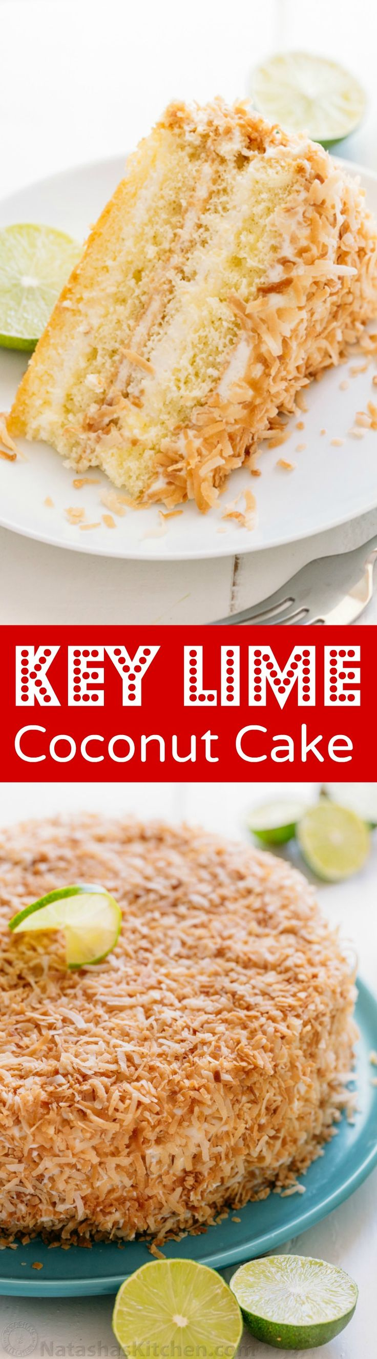 Key lime cake is the ultimate summer party cake. This key lime cake is pummeled with toasted coconut and boasts the juice of 5 limes. So refreshing! | natashaskitchen.com