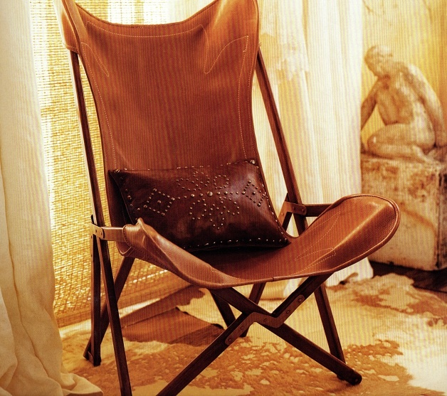 Delightful Ralph Lauren Sheltering Sky Camp Chair (Retired / Vintage) Distressed  Leather Sling Seat And