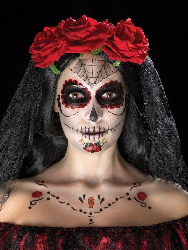 Dag Halloween.Prisgaranti Pa Day Of The Dead Ansigtsmaling Saet Edderkop