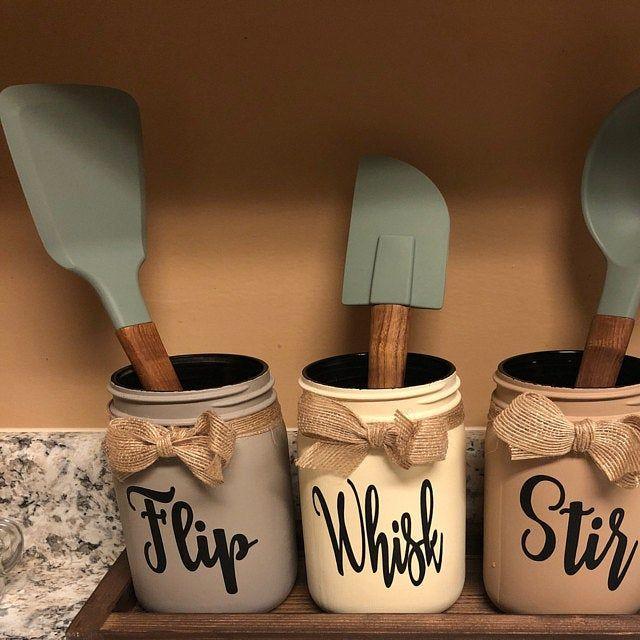 Flip Stir Whisk Utensil Holder Mason Jar Decor Kitchen Decor Rustic Utensil Holder Utensil Holder Mason Jar Utensil Holder Rustic Decor In 2020 Decorated Jars Mason Jar Decorations Mason Jars