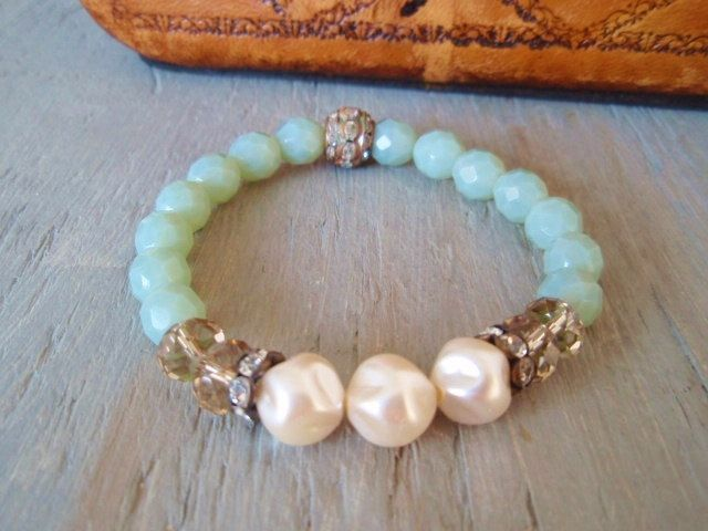 Pearl stretch bracelet 'ByGones' dimpled cream pearls, crystal, opal glass, vintage rhinestones, casual glam layering stack bracelet. $50.00, via Etsy.