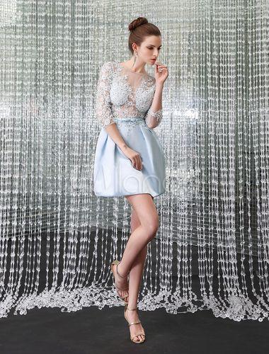 robe de cocktail bleue ciel clair avec ceinture robes With robe de cocktail combiné avec ceinture hipanema